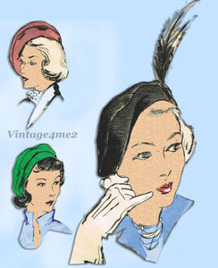 Butterick 4941: 1940s Misses Set of Beret Style Hats 23H Vintage Sewing Pattern