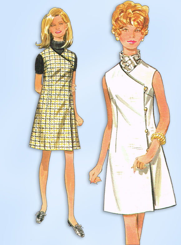 1960s Vintage Butterick Sewing Pattern 5000 Easy Misses A Line Wrap Dress 34 B