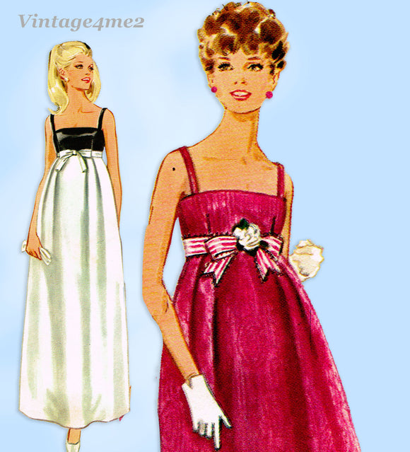1960s Vintage Butterick Sewing Pattern 5049 Junior Misses Prom Dress Sz 34 B
