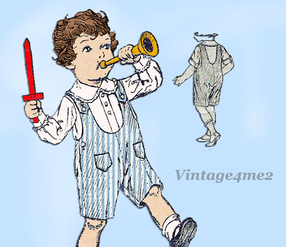 Butterick 5098: 1920s Rare Sweet Baby Boys Romper Size 2 Vintage Sewing Pattern