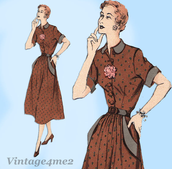 Butterick 5360: 1950s Uncut Misses Dress w Pockets Sz 32B Vintage Sewing Pattern