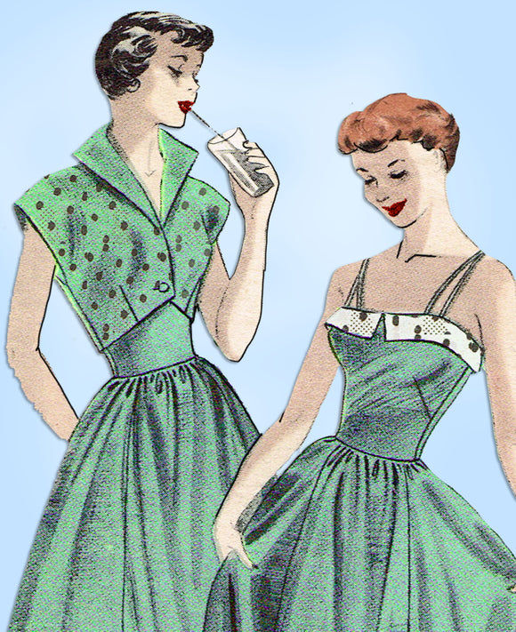 1950s Vintage Butterick Sewing Pattern 5378 Uncut Sun Dress & Bolero Sz 32 Bust - Vintage4me2