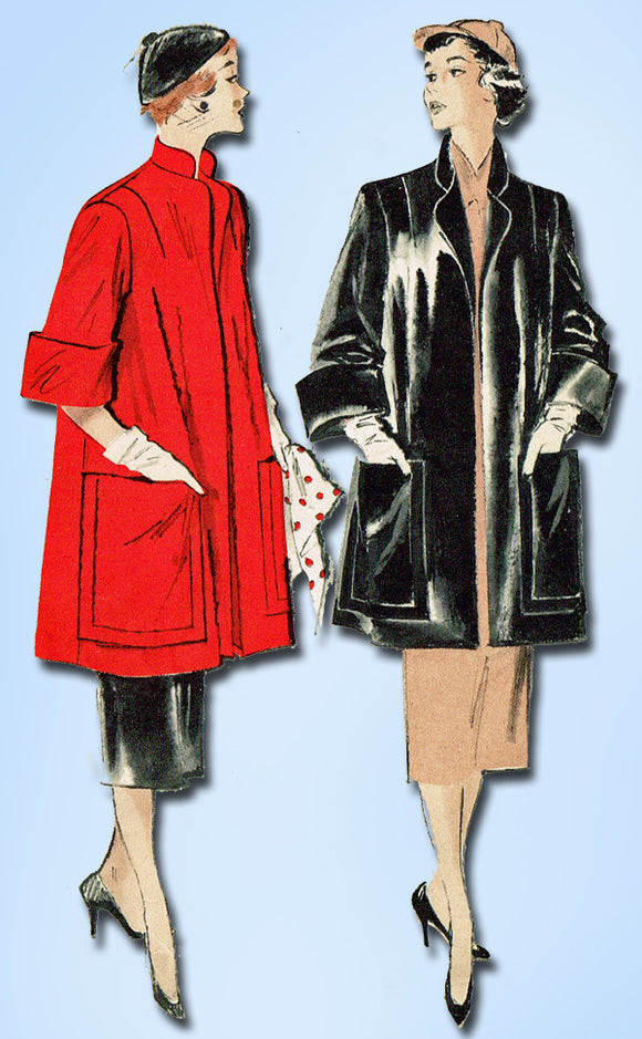 1950s Vintage Butterick Sewing Pattern 5421 Easy Misses Swagger Coat Size 14 32B