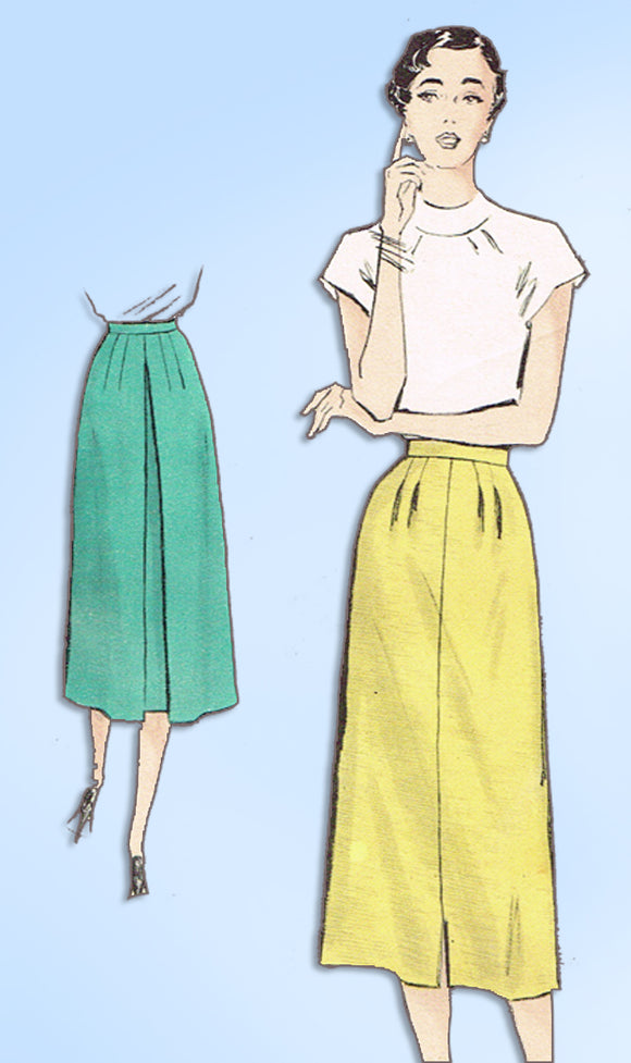 1950s Vintage Butterick Sewing Pattern 5450 Quick & Easy Misses Skirt Size 24 W