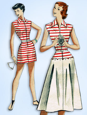 1950s Vintage Butterick Sewing Pattern 5766 Uncut Misses Play Suit & Skirt 32 B