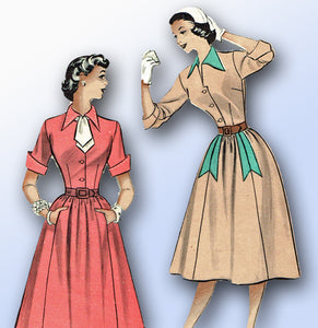 1950s Vintage Butterick Sewing Pattern 5834 Misses Shirtwaist Dress Size 34 Bust