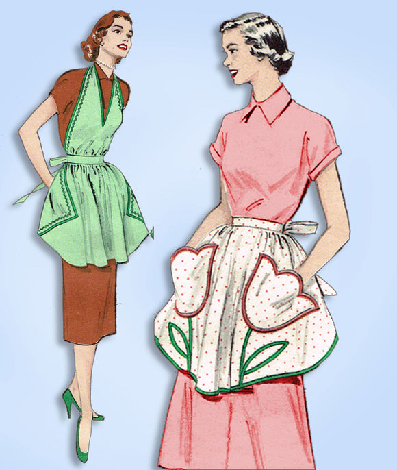 1950s Vintage Butterick Sewing Pattern 5939 Uncut Misses Tulip Apron Fits All - Vintage4me2