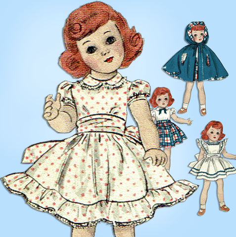 190s Original Vintage Butterick Sewing Pattern 5969 21in Toni Doll Clothes Set