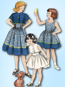 1950s Vintage Butterick Sewing Pattern 6007 Uncut Girls Dress & Topper Size 12