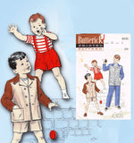 1950s Vintage Butterick Sewing Pattern 6035 Uncut Toddler Boys Suit Size 2 - Vintage4me2