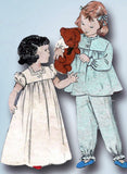 1950s Vintage Butterick Sewing Pattern 6199 Toddler Girls Nightgown or Pjs Sz 2