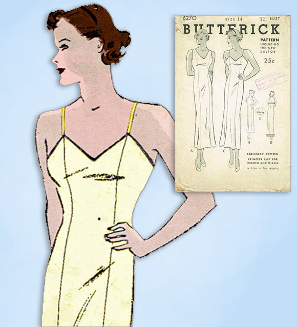 1930s Vintage Butterick Sewing Pattern 6270 Misses Princess Slip Size 32 Bust