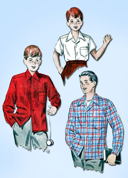1950s Vintage Butterick Sewing Pattern 6278 Toddler Boys Shirt Jacket Size 6