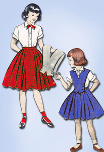 1950s Vintage Butterick Sewing Pattern 6387 Little Girls Skirt and Blouse Sz 10