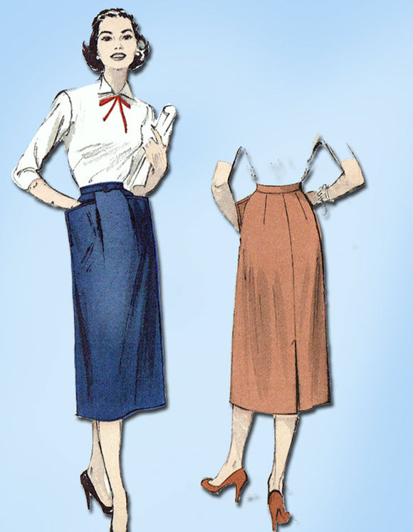1950s Vintage Butterick Sewing Pattern 6393 Misses Easy Day Skirt Size 28 Waist