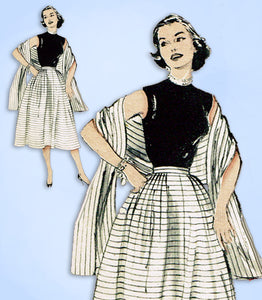 1950s Vintage Butterick Sewing Pattern 6394 Misses Skirt & Stole Size 28 Waist