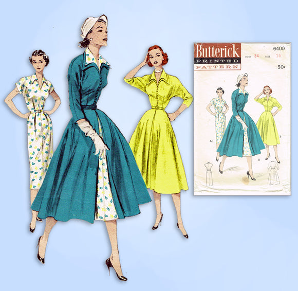 1950s Vintage Butterick Sewing Pattern 6400 Misses Dress & Redingote Sz 34 Bust