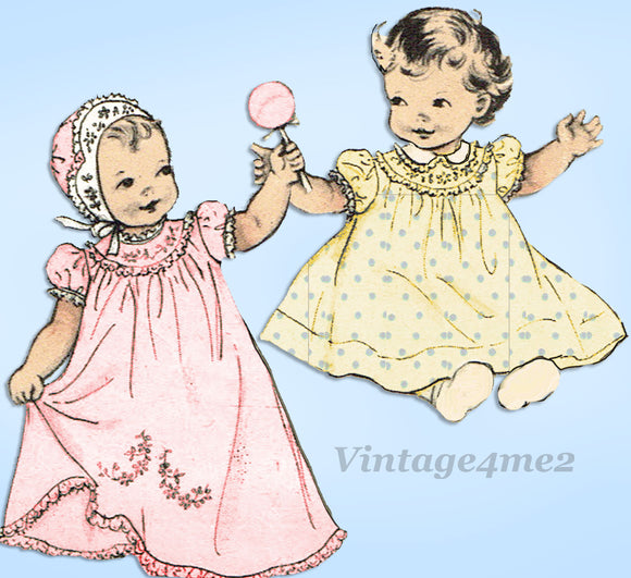 1950s VTG Butterick Sewing Pattern 6425 Uncut Embriodered Infant Layette Set - Vintage4me2