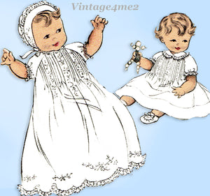 1950s Vintage Butterick Sewing Pattern 6426 Baby Layette w Christening Dress