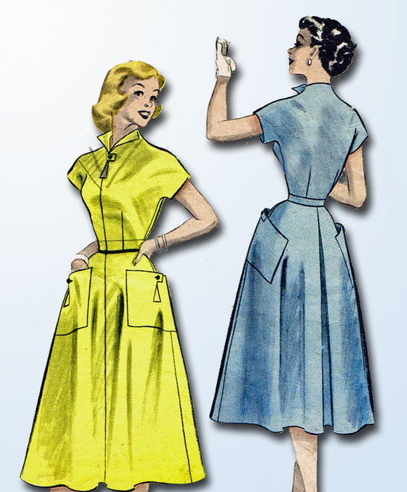1950s Vintage Butterick Sewing Pattern 6479 Misses Day Dress w Cap Sleeves Sz 12
