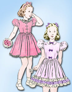 1940s Vintage Butterick Sewing Pattern 6480 Little Girls Ruffled Party Dress Sz7 - Vintage4me2