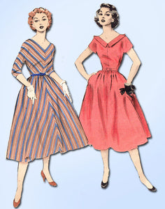 1950s Vintage Butterick Sewing Pattern 6507 Easy Misses Bias Cut Dress Sz 12 30B