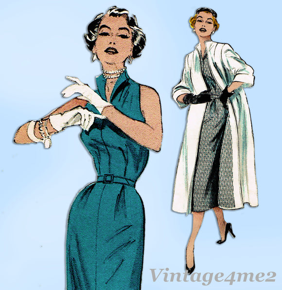 Butterick 6529: 1950s Uncut Misses Dress & Coat Sz 30 B Vintage Sewing Pattern