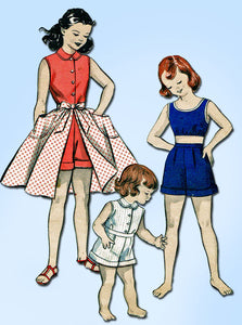 1950s Vintage Butterick Sewing Pattern 6553 Toddler Girls Play Clothes Size 6