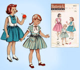 1950s Vintage Butterick Sewing Pattern 6602 Uncut Little Girls Dress Size 10 - Vintage4me2