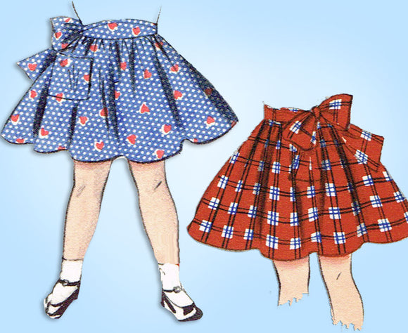 1950s Vintage Butterick Sewing Pattern 6604 Toddler Girls Circle Skirt Sz 6 - Vintage4me2