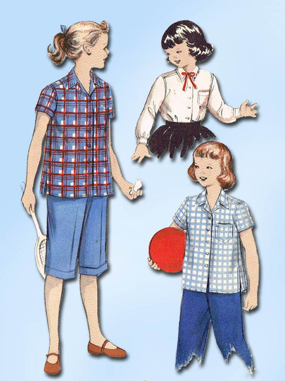 1950s Vintage Butterick Sewing Pattern 6614 Toddler Girls Blouse or Shirt Size 6