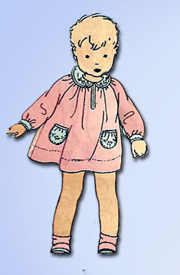 1920s Rare Vintage Butterick Sewing Pattern 6656 Baby Girls Dress Size 1 20B - Vintage4me2