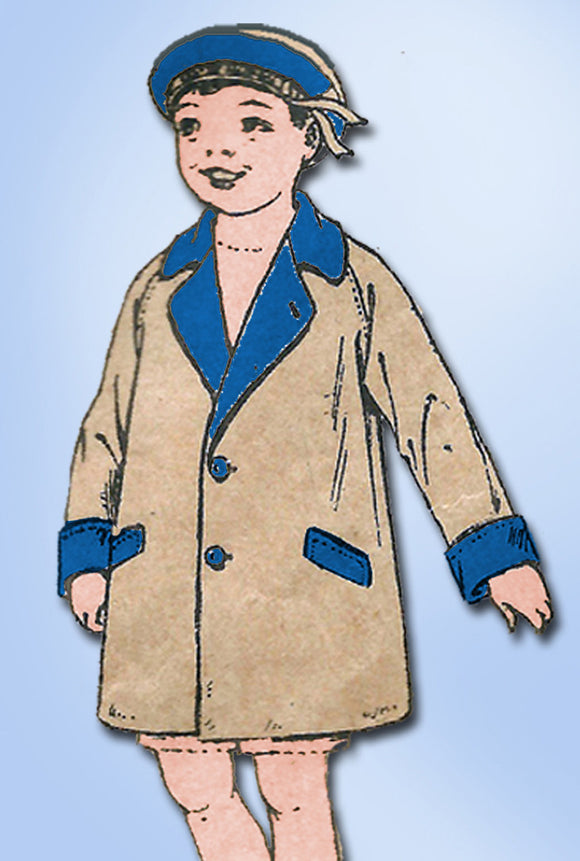 1920s Vintage Butterick Sewing Pattern 6750 Little Boys Raglan Over Coat Sz 6 - Vintage4me2