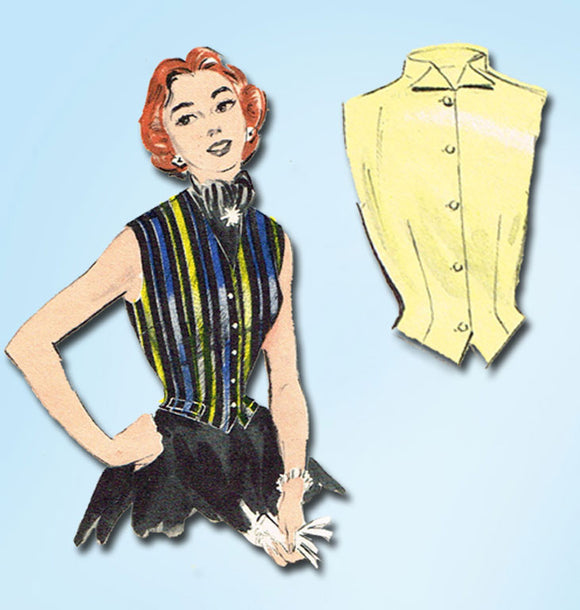 1950s Vintage Butterick Sewing Pattern 6784 Misses Sleeveless Blouse Size 12 30B - Vintage4me2
