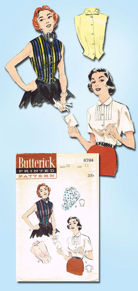 1950s Vintage Butterick Sewing Pattern 6784 Misses Sleeveless Blouse Size 12 30B