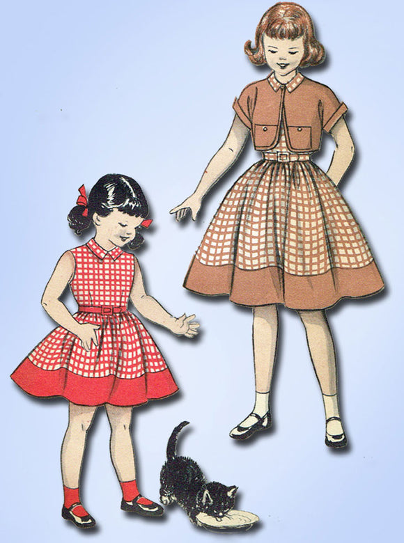 1950s Vintage Butterick Sewing Pattern 6792 Toddler Girls Dress & Bolero Size 6 - Vintage4me2