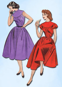 1950s Vintage Butterick Sewing Pattern 6844 Quick & Easy Dress Size 14 32 Bust