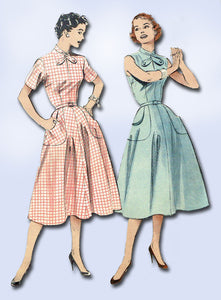 1950s Misses Butterick Sewing Pattern 6944 Uncut Misses Easy Day Dress Sz 14 32B