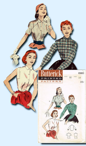 1950s Vintage Butterick Sewing Pattern 6985 Misses Shirtwaist Blouse Size 14 32B