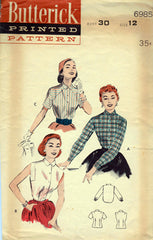 1950s Vintage Butterick Sewing Pattern 6985 Misses Shirtwaist Blouse Size 12 30B