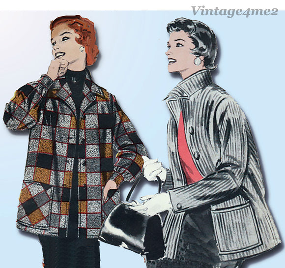 1950s Vintage Butterick Sewing Pattern 7044 Misses Shirt Jacket Sz 34 Bust