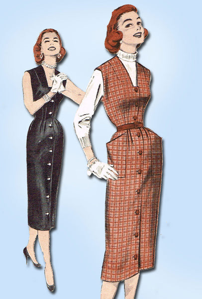 1950s Vintage Butterick Sewing Pattern 7049 Easy Misses Jumper Dress Size 14 32B
