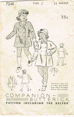 1930s Vintage Butterick Sewing Pattern 7248 Toddler Girls Coat & Hat Size 2 21B
