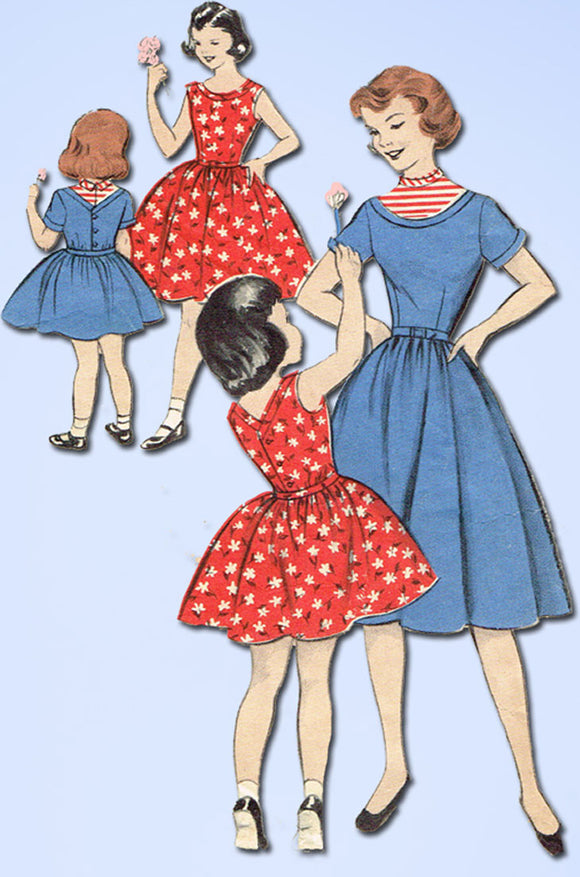 1950s Vintage Butterick Sewing Pattern 7297 Toddler Girls Pretty Dress Size 6