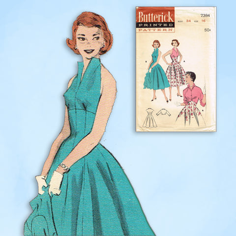 1950s Vintage Butterick Sewing Pattern 7384 Uncut Misses Halter Sun Dress Sz 34B