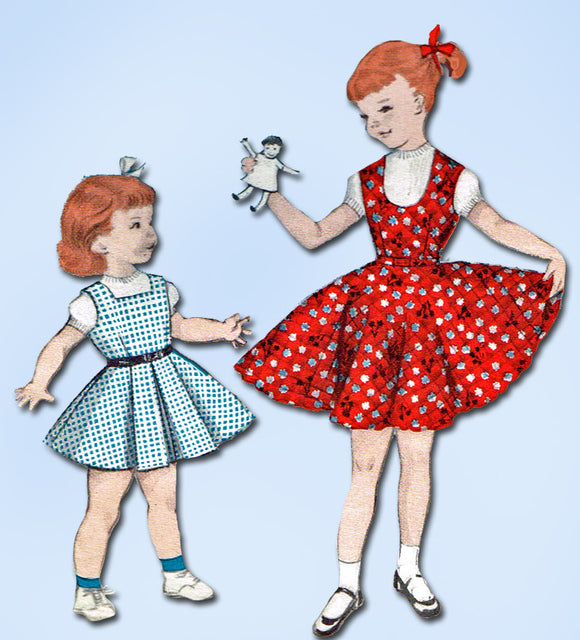 1950s Vintage Butterick Sewing Pattern 7412 Little Girls Sun Dress or Jumper Sz8