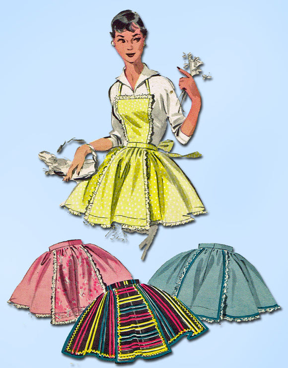 1950s Vintage Butterick Sewing Pattern 7539 Easy Uncut Misses Apron Fits All