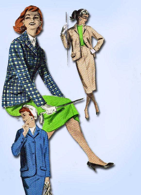 1950s Vintage Butterick Sewing Pattern 7604 Uncut Misses Box Jacket & Skirt 34B - Vintage4me2