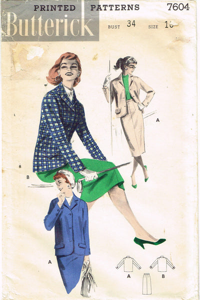 1950s Vintage Butterick Sewing Pattern 7604 Uncut Misses Box Jacket & Skirt 34B