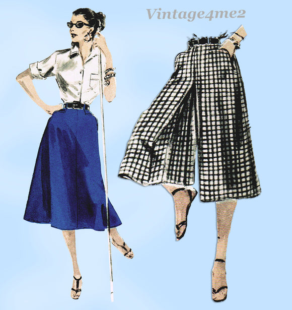 1950s Vintage Butterick Sewing Pattern 7643 Misses Skirt or Culottes Size 24 W